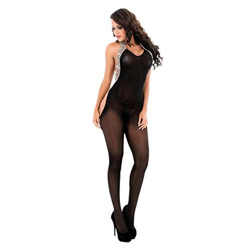 - Lurryly❤Women Leopard Hanging Neck Bodystockings Perspective Underwear