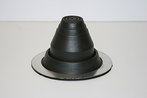 "EPDM Black Round Base Pipe Flashing Master Flash #1, Pipe Range 1/4"" to 2-1/2"" (6.4mm to 63.5mm)"