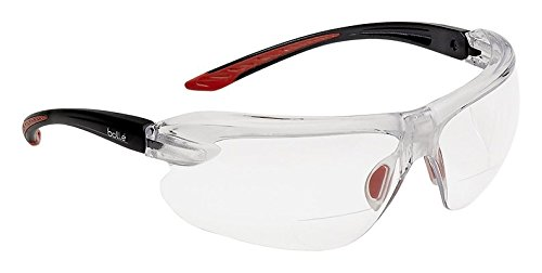Bolle Safety Iri-S Safety Glasses with 2.00 Diopter, Black & Red Frame, Clear - Shop Spectacle Online