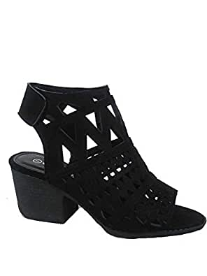 FZ-Addie-03 Women's Fashion Open Toe Low Block Heel Laser-Cut Detail Sandal Sheos Black Size: 6