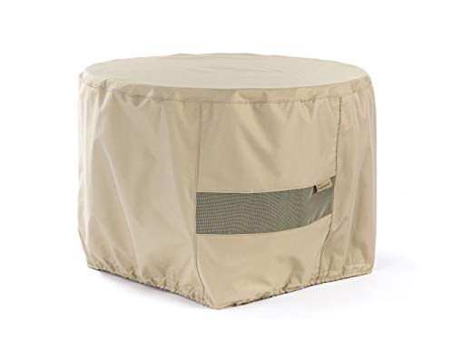 Covermates - Round Firepit Cover - 36DIAMETER x 25H - Elite Collection - 3 YR Warranty - Year Around Protection - Khaki (Furniture Bond Outdoor)