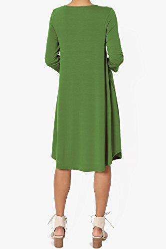 Basic 3 Loose Jersey 4 4 Pocket Shirt Trapeze TheMogan Sleeve Kiwi Knit Dress T 3 dnRWfHH8