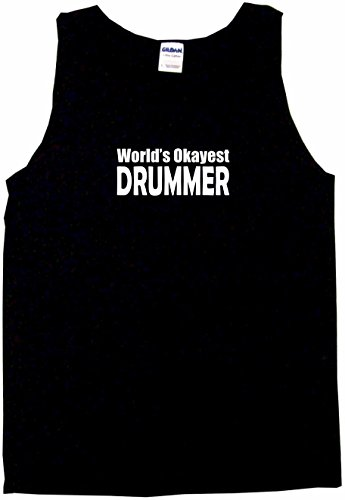 World's Okayest Drummer Men's Tee Shirt Small-Black Tank Top