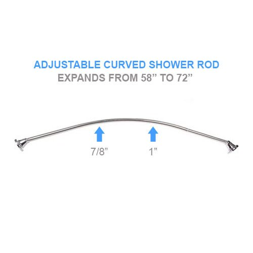 STAINLESS STEEL DECORATIVE BRUSHED NICKEL ADJUSTABLE CURVED SHOWER ROD IT FITS ALL STANDARD BATHTUB ENCLOSURES AND COMES PACKAGED READY FOR INSTALLATION durable service