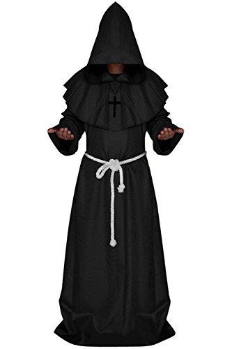Wonderoy Men's friar Medieval Monk Priest Robe Pastor Halloween Hooded Cape Costume Cloak XL Black]()
