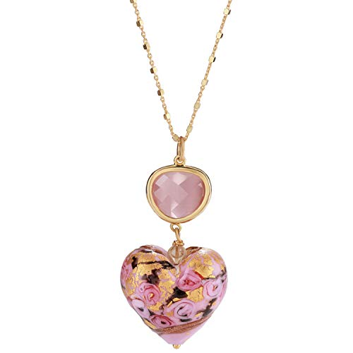 Stauer Women's Pink Heart Tesoro Italian Murano Pendant with Yellow Gold-Finished Sterling Silver ()