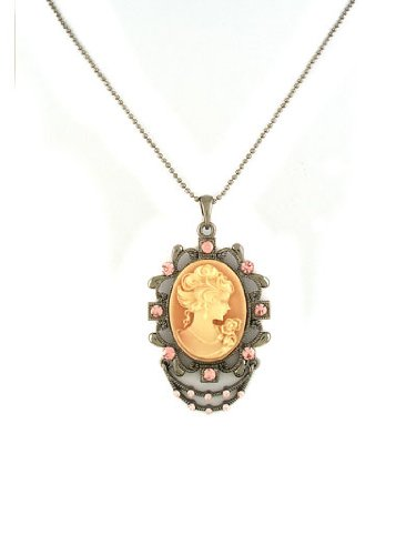 V G S Eternity Fashions Fashion Jewelry ~ Cameo Pendant with Pink Crystals on Ball Chain Necklace 7436 PK