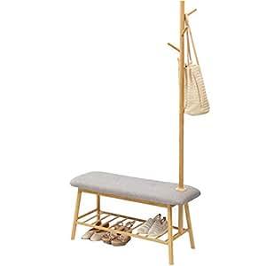 cmxdz Bamboo Creative Floor Coat Rack Cambio de Zapato Banco ...