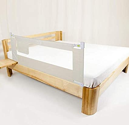 2M Children Bed Guard Rail Beige Portable Folding Side Rail Height Adjustable Protection Guard with Lockable Buckle for Toddlers Kids Baby Safety Bed Rail