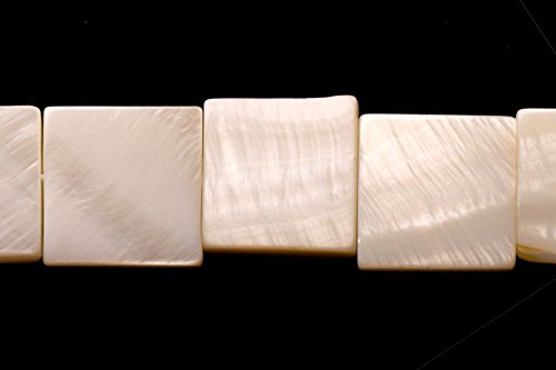 Puka Shell Beads (White Mother-Of-Pearl Square Plate Shell Beads Size:15x15mm)