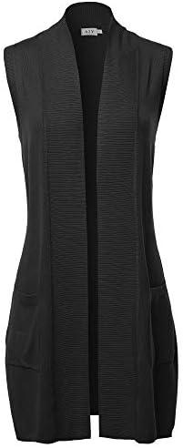 A2Y Women's Open Front Long Sleeveless Draped Side Pockets Vest Knit Sweater