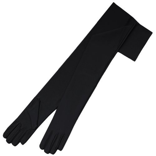 "ZaZa Bridal 23.5"" Long 4-Way Stretch Matte Finish Satin Dress Gloves Opera Length 16BL-Black"