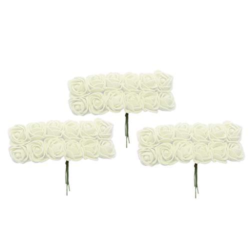 BROSCO 432x Artificial Miniature Foam Rose Flowers Wedding Bouquet DIY Craft -