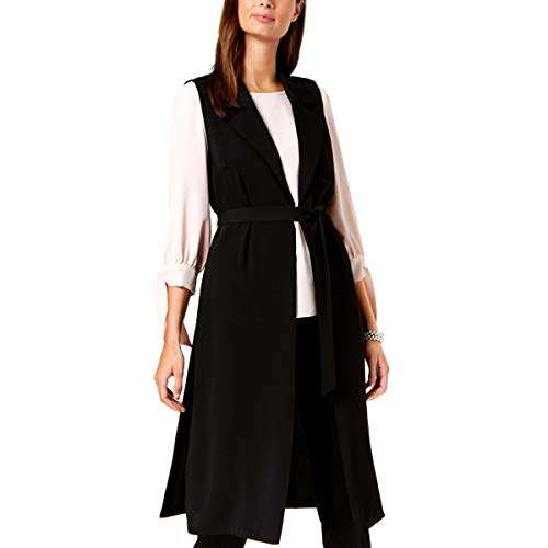 Nine West Women's Sleeveless Crepe Duster with TIE Detail, Black, XS