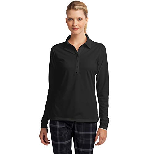 Nike Ladies Long Sleeve Custom Polo. Dri-FIT Stretch Tech. 545322 (Small) Anthracite