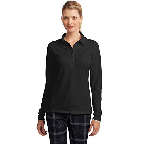 Nike Ladies Long Sleeve Custom Polo. Dri-FIT Stretch Tech. 545322 (Medium) Anthracite Custom Nike Golf Shirts