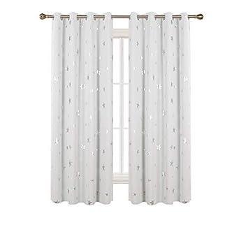 Deconovo Gardinen Kinderzimmer Vorhang Sterne Verdunkelungsgardinen Ösen  Vorhang Weihnachten 175x140 cm Weiß 2er Set