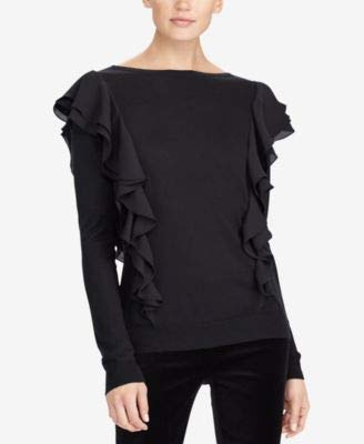 LAUREN RALPH LAUREN Womens Daytana Silk Ruffled Sweater Black - Women Sweaters Lauren Cardigans Ralph