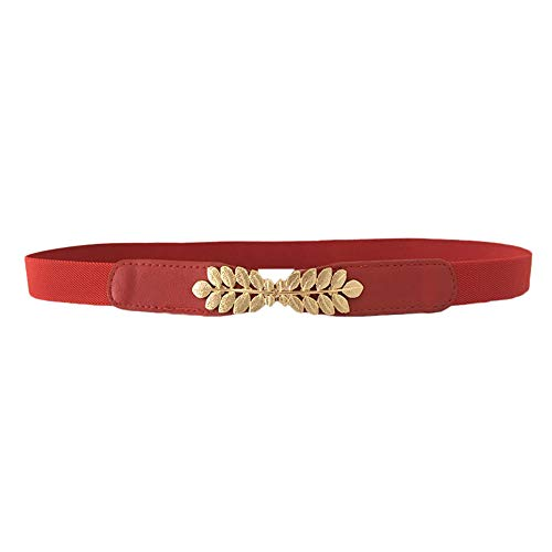 - Women's Leather Belt Slim Fashion Solid Color Soft Faux Thin Shiny Skinny Waist Belts For Jeans Dress (Red)