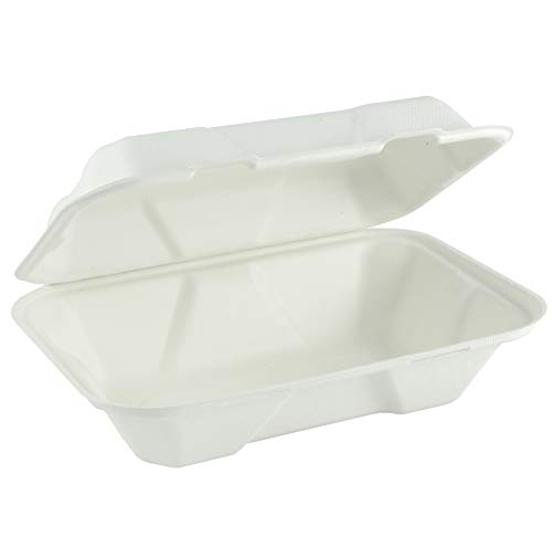 Eco Guardian 9 inch x 6 inch x 3 inch Compostable Stackable Clamshell with Lid, White, 200 -
