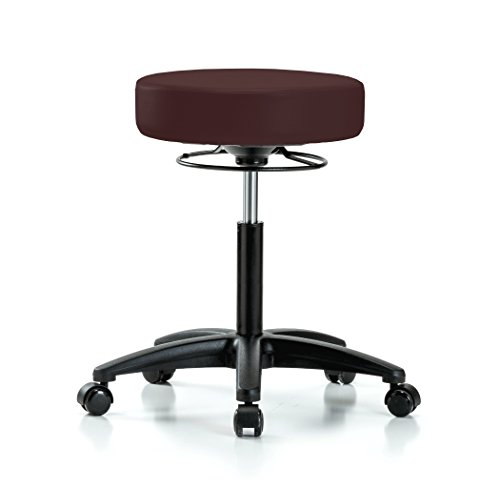 Perch 360 Degree Rolling Height Adjustable Massage Therapy Swivel Stool for Carpet or Linoleum   Workbench Height   300-Pound Weight Capacity   12 Year Warranty (Burgundy - Swivel Burgundy Fabric