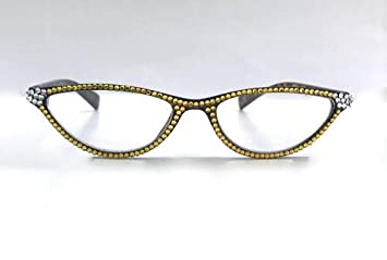 eac102892955 Image Unavailable. Image not available for. Color  CAT-Eye Reading Glasses  Made with Swarovski Crystal ...