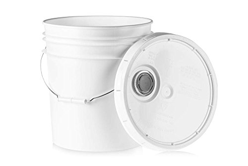 Round White Food (5 Gallon Food Grade Plastic Bucket - White Storage Container with Pour Spout Lid and Metal Handle - 1 Pack)