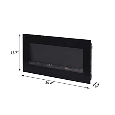 """40"""" 1500W Electric Fireplace Mounted Heat Tempered Glass Remote Control w/LEDs"""