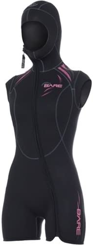 Bare 7mm Womens Sport Step-in Hooded Vest for Scuba Diving (16, Pink)