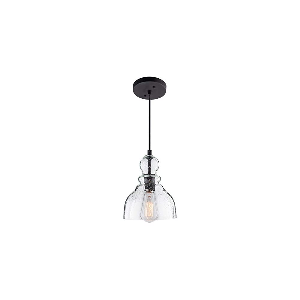 LANROS Industrial Mini Pendant Lighting with Handblown Clear Seeded Glass Shade, Adjustable Cord Farmhouse Lamp Ceiling…
