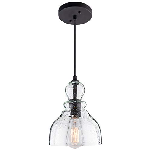 Glass Pendant Light Fixture - Lanros Industrial Mini Pendant Lighting with Handblown Clear Seeded Glass Shade, Adjustable Edison Farmhouse Kitchen Lamp for Kitchen Island, Restaurants, Hotels and Shops, 1-Pack