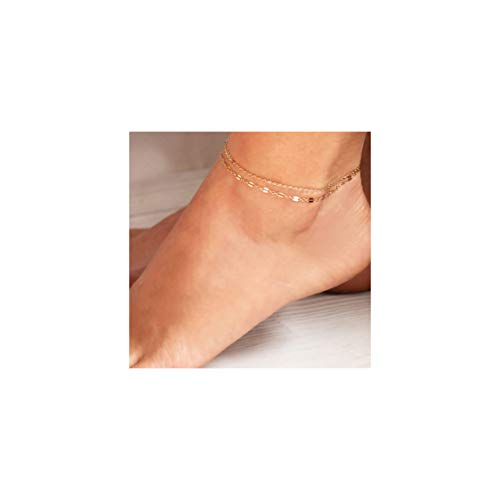 Mevecco Gold Dainty Layered Anklet for Women,14K Gold Plated Cute Lace Lip Chain Boho Beach Plain Foot Chain Ankle Bracelet for Teen Girls