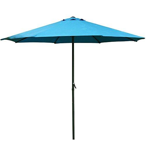Prime Garden 9 Foot Patio Market Umbrella Polyester Crank Aluminum Beach Canopy Blue