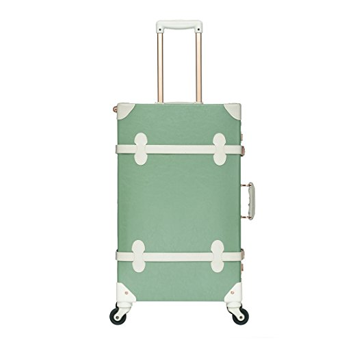 UNIWALKER Mint Green Rolling Luggage Vintage Style Carry On Suitcase for Women (20