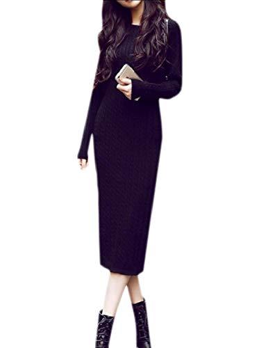 Coolred-femmes Solides À Long Tricot Automne À Manches Longues Robe Fourreau Pull Noir
