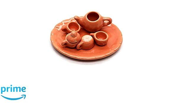 1shop mini Afternoon Tea Set Dessert Thai Cute Handmade Dollhouse Miniature Ceramic Tea Orange Cup Mug Set 7 pcs.