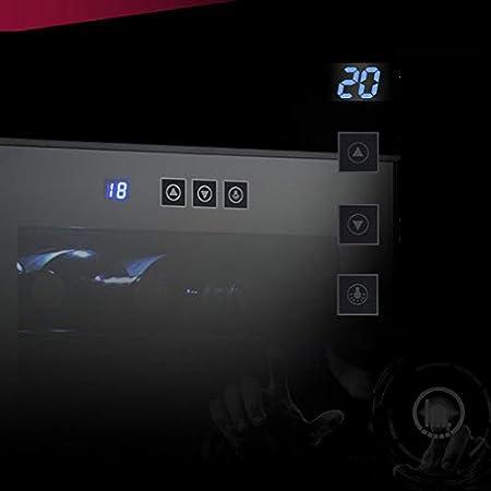 HUATINGRHHO Silencioso Vinoteca de 32 Botellas Temperatura 12° - 18° C Volumen de 78 litros Panel de Control Táctil iluminación LED 7 Baldas de Madera, Negro Puerta Cristal