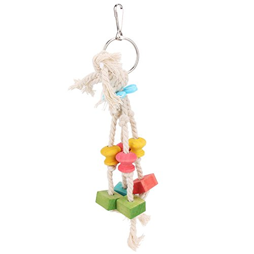Parrot Toys 20.6cm Cockatiel Bird Bite Pet Toys Wood Cotton Rope Cage Chew - Mall Cotton Wood