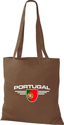 Portugal Shirtstown Escudo Marrón De Tela Land Países Bolsa Claro qqgtv