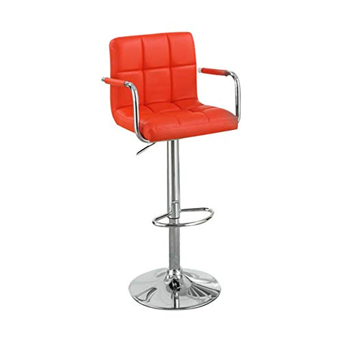 (Benzara BM166618 Chair Style Faux Leather Seat and Gas Lift Red and Silver Set of 2 Barstool )