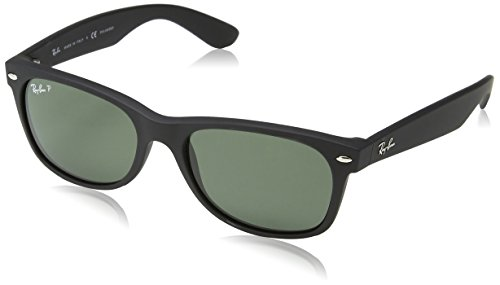 Ray-Ban RB2132 New Wayfarer Polarized Sunglasses, Black Rubber/Polarized Green, 55 mm Authentic Ray Ban Sunglasses