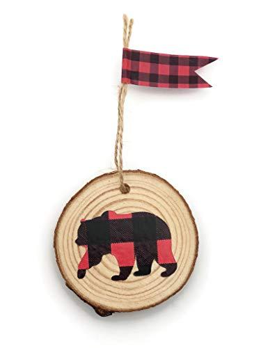 Buffalo Plaid Bear Christmas Ornament Rustic Holiday Tree Decor Gift ()