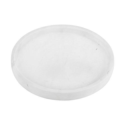MAYKKE Cobi Round Display Tray | Bathroom, Bedroom Vanity Countertop Trinket & Accessories Holder | Hold Cosmetics, Makeup, Jewelry, and Keys | Volakas White Marble, YOA1140102 by Maykke