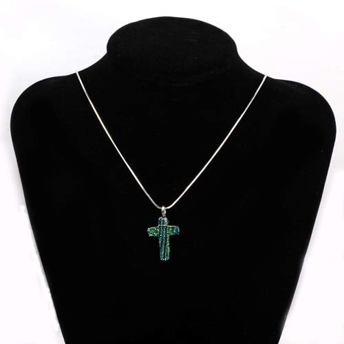 Gnudo1511 Glass Cross Pendant Colorful Gold Foil Royal Dark Green Small Cross Lampwork Glass Pendant for Necklace