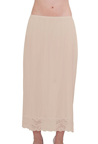 Slip Vintage Half (Under Moments  Half Slip Vintage Style Maxi 32-Inch with All Around Lace - Large - Beige)