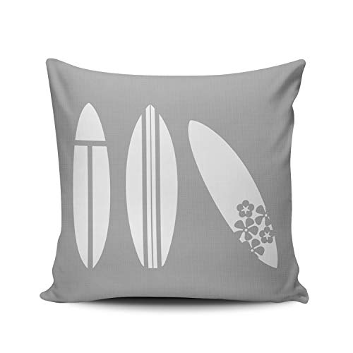 Fanaing Surfboard in Gray and White Pillowcase Home Sofa Decorative 16x16 Inch Square Throw Pillow Case Decor Cushion Covers Double-Sided Printed (Pillows Surfboard)