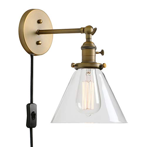 - PERMO 1-Light Plug in On/Off Switch Wall Sconce with Funnel Flared Clear Glass Shade Vintage Industrial Wall lamp Light Fixture (Antique)