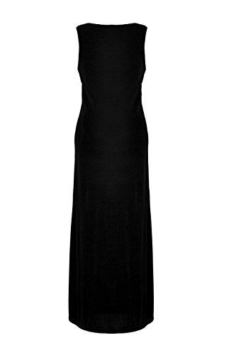G2 Chic Women's Solid Draped V-Neck Sleeveless Maxi Dress(DRS-MAX,BLK-M)
