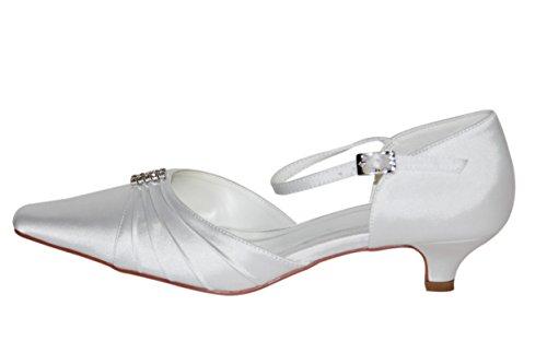 hochzeits-shop-hamburg Brautschuhe Hochzeitsschuhe - Tira de tobillo de raso mujer blanco - blanco