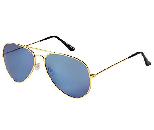 Cristiano Ronnie Golden with Blue Mirror Aviator Sunglasses